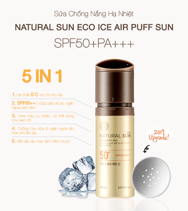 Kem Chống Nắng the face shop NATURAL SUN ECO ICE AIR PUFF SUN SPF50+PA+++