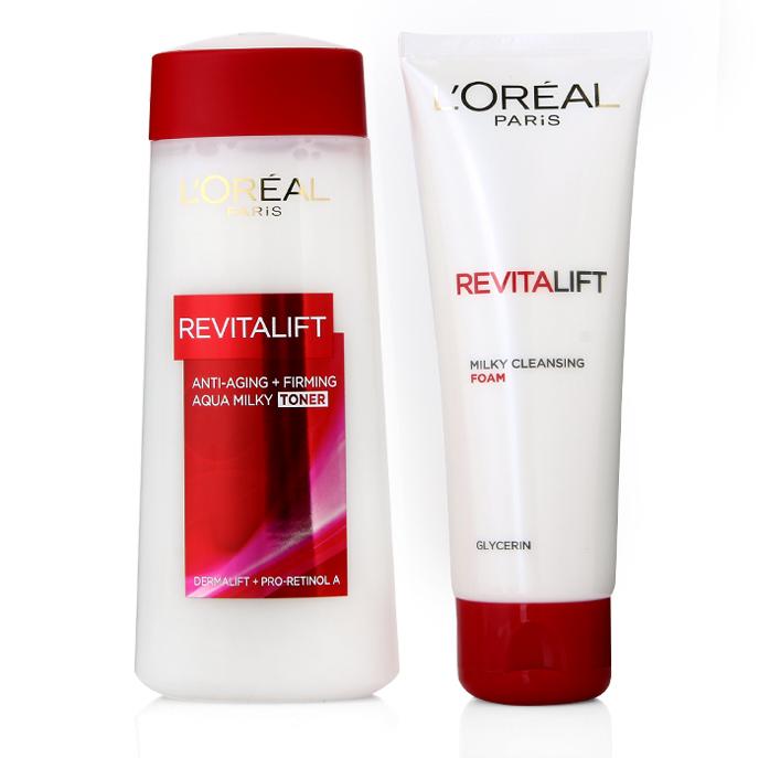 sửa rửa mặt và nước hoa hồng L'Oreal Revitalift