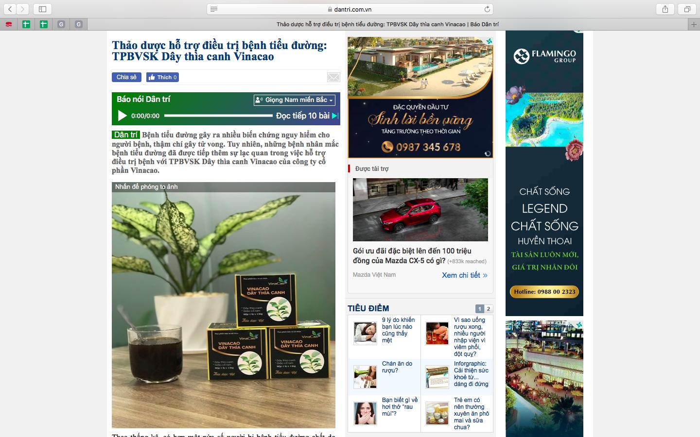 Về thương hiệu Vinacao  Các sản phẩm Cao thảo dược của công ty cổ phần Vinacao được sản xuất theo công thức độc quyền tại Nhà máy Hóa Dược Việt Nam, là đơn vị có bề dày thành tích được hoạt động từ năm 1966.  (Sản phẩm từng được nhiều trang báo mạng nổi tiếng đưa tin, ngay cả trang báo điện tử lớn nhất hiện tại là DANTRI.COM.VN)  Công ty đã thực hiện hệ thống quản lý chất lượng Quốc tế ISO 9001: 2008. Ngày 9/3/2011 được cục Quản lý Dược Bộ Y tế cấp phép công nhận Công ty cổ phần Hóa Dược Việt Nam có hệ thống quản lý chất lượng đạt GMP – WHO và GSP, GLP. Công ty đã được cấp Giấy chứng nhận: Đủ điều kiện sản xuất nguyên liệu thuốc, cao dược liệu, thực phẩm chức năng.